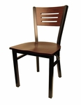 Mahogany Wood Back Metal Chair with 3 Slats in Back [6157-HND]