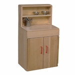 Solid Maple Wood Deluxe Hutch with Safety Rounded Edges and Plastic Door Handles - 19.5''W x 12''D x 36''H [20720-WDD]