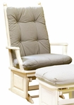 Maple Wood Post Back Glider with Raised Panel - Antique White Finish [1307-FS-BFM]