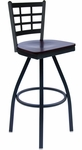 Marietta Metal Window Pane Swivel Barstool - Black Wood Seat [2163SBLW-SB-BFMS]