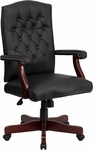 Martha Washington Black Leather Executive Swivel Chair with Arms [801L-LF0005-BK-LEA-GG]