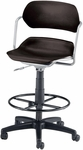Martisa Plastic Task Stool with Drafting Kit - Silver Frame and Black Seat [200-DK-SLVR-BLK-FS-MFO]