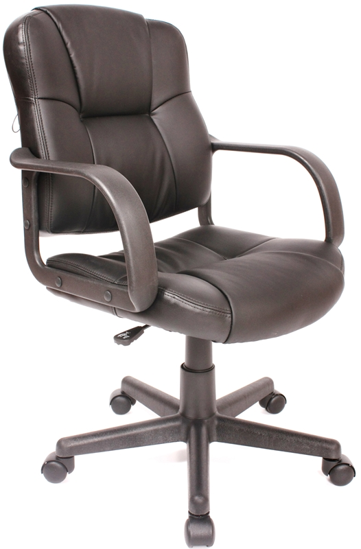 massage mid back leather task chair black 60 6814 by comfort