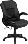 Massaging Black Leather Executive Swivel Chair with Arms [BT-2536P-1-GG]