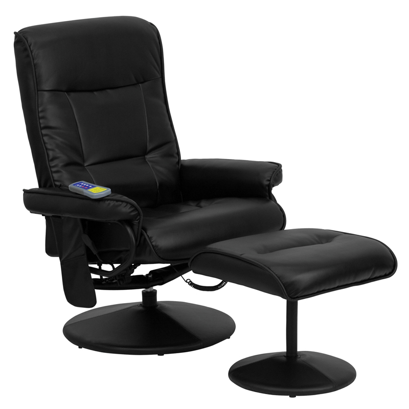 Massaging Black Leather Recliner and Ottoman with Leather Wrapped Base BT MASS BK GG by Flash Furniture