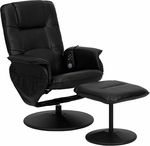 Massaging Black Leather Recliner and Ottoman with Leather Wrapped Base [BT-753P-MASSAGE-BK-GG]