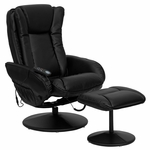 Massaging Black Leather Recliner and Ottoman with Leather Wrapped Base [BT-7672-MASSAGE-BK-GG]