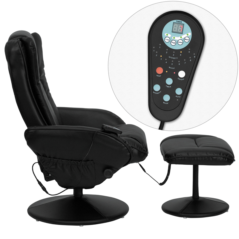 massaging black leather recliner and ottoman with leather wrapped base by flash furniture bizchaircom