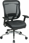 Space 818 Executive High Back Office Chair with Breathable Mesh Back and Leather Seat and 300 lb Weight Capacity [818A-41P9C1A8-FS-OS]