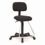 Maxima II Height Adjustable Drafting Chair with Chrome Footrest - Black [18622-FS-SDI]