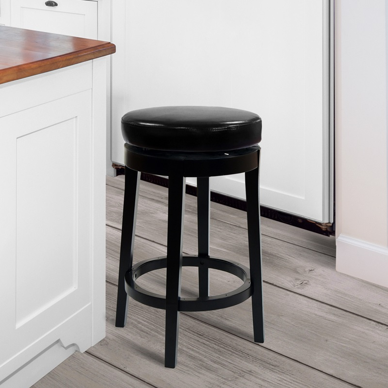 mbs 450 series 26 39 39 h wood and bonded leather backless swivel counter stool black lc450babl26. Black Bedroom Furniture Sets. Home Design Ideas