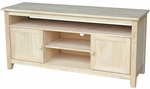 Classic Solid Wood 57''W X 26''H Media Center with 2 Doors - Unfinished [TV-51-FS-WHT]