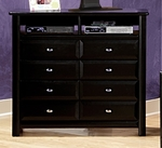 Rustic Style 44''W x 18''D Solid Pine Media Chest - Black Cherry [3534539-FS-CHEL]