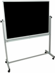 Doubled Sided Aluminum Frame Whiteboard/Chalkboard with Marker Tray - 51.5''W x 20.5''D x 65.5''H [MB4836-FS-LUX]