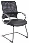 Mesh Back Guest Chair with Loop Arms - Black [B6409-FS-BOSS]