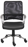 Mesh Back Managers Task Chair with Loop Arms - Black with Pewter Finish [B6406-FS-BOSS]
