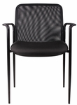 Breathable Mesh Stack Guest Chair with Powder Coated Steel Frame - Black [B6909-BK-BOSS]