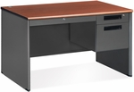 Executive Single Pedestal Panel End Desk with Center Drawer 29.50'' Dx 47.25'' W - Cherry [77348-CHY-MFO]