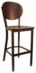 Metal Barstool with Round Back and Veneer Seat [6185B-HND]