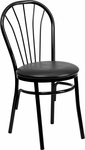 Metal Fan Back Bistro Chair with Black Vinyl Seat [BFDH-706698-BK-TDR]