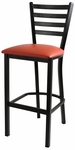 Metal Ladder Back Barstool with Black Finish [6145B-HND]