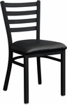 Metal Ladder Back Chair with Black Finish [6145-HND]