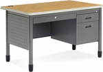 Mesa 29.50'' D x 47.25'' W Single Pedestal Teacher's Desk - Oak Top [66348-OAK-MFO]