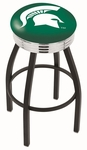 Michigan State University 25'' Black Wrinkle Finish Swivel Backless Counter Height Stool with Ribbed Accent Ring [L8B3C25MICHST-FS-HOB]