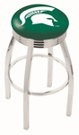 Michigan State University 25'' Chrome Finish Swivel Backless Counter Height Stool with 2.5'' Ribbed Accent Ring [L8C3C25MICHST-FS-HOB]