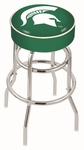 Michigan State University 25'' Chrome Finish Double Ring Swivel Backless Counter Height Stool with 4'' Thick Seat [L7C125MICHST-FS-HOB]