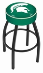 Michigan State University 25'' Black Wrinkle Finish Swivel Backless Counter Height Stool with 4'' Thick Seat [L8B125MICHST-FS-HOB]