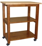 Traditional 26''W X 30''H Microwave Cart with 3 Shelves and Castors - Cinnamon [WC58-185-FS-WHT]