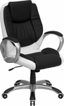 Mid-Back Black and White Leather Executive Swivel Chair with Arms [CH-CX0217M-GG]