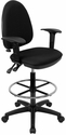 Mid-Back Black Fabric Multifunction Drafting Chair with Adjustable Lumbar Support and Adjustable Arms
