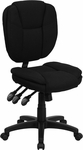 Mid-Back Black Fabric Multifunction Ergonomic Swivel Task Chair [GO-930F-BK-GG]