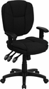 Mid-Back Black Fabric Multifunction Ergonomic Swivel Task Chair with Adjustable Arms