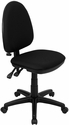 Mid-Back Black Fabric Multifunction Swivel Task Chair with Adjustable Lumbar Support