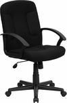 Mid-Back Black Fabric Executive Swivel Chair with Nylon Arms [GO-ST-6-BK-GG]
