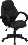 Mid-Back Black Leather Contemporary Executive Swivel Chair with Arms [H-HLC-0005-MID-1B-GG]