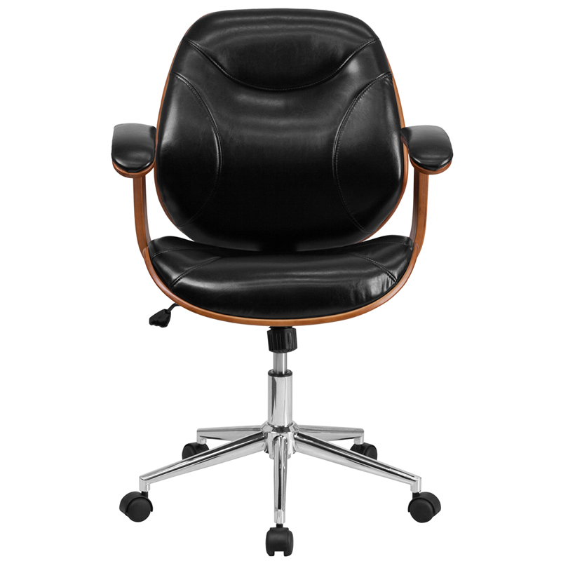 Mid Back Black Leather Executive Wood Swivel Chair with Arms   SD SDM 2235 5 BK GG by Flash Furniture   BizChair comMid Back Black Leather Executive Wood Swivel Chair with Arms  SD   of Flash Furniture Mid Back Office Chair Black Leather