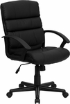 Mid-Back Black Leather Swivel Task Chair with Arms [GO-1004-BK-LEA-GG]