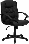 Mid-Back Black Leather Swivel Task Chair with Arms [GO-937M-BK-LEA-GG]