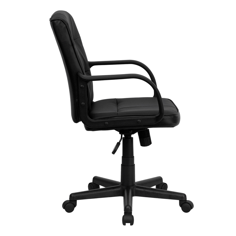 Mid Back Black Leather Swivel Task Chair with Arms  GO 228S BK LEA GG by Flash  Furniture   BizChair comMid Back Black Leather Swivel Task Chair with Arms  GO 228S BK LEA  . Flash Furniture Mid Back Office Chair Black Leather. Home Design Ideas