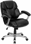 Mid-Back Black Leather Swivel Task Chair with Arms [GO-931H-MID-BK-GG]