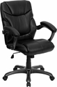Mid-Back Black Leather Overstuffed Swivel Task Chair with Arms