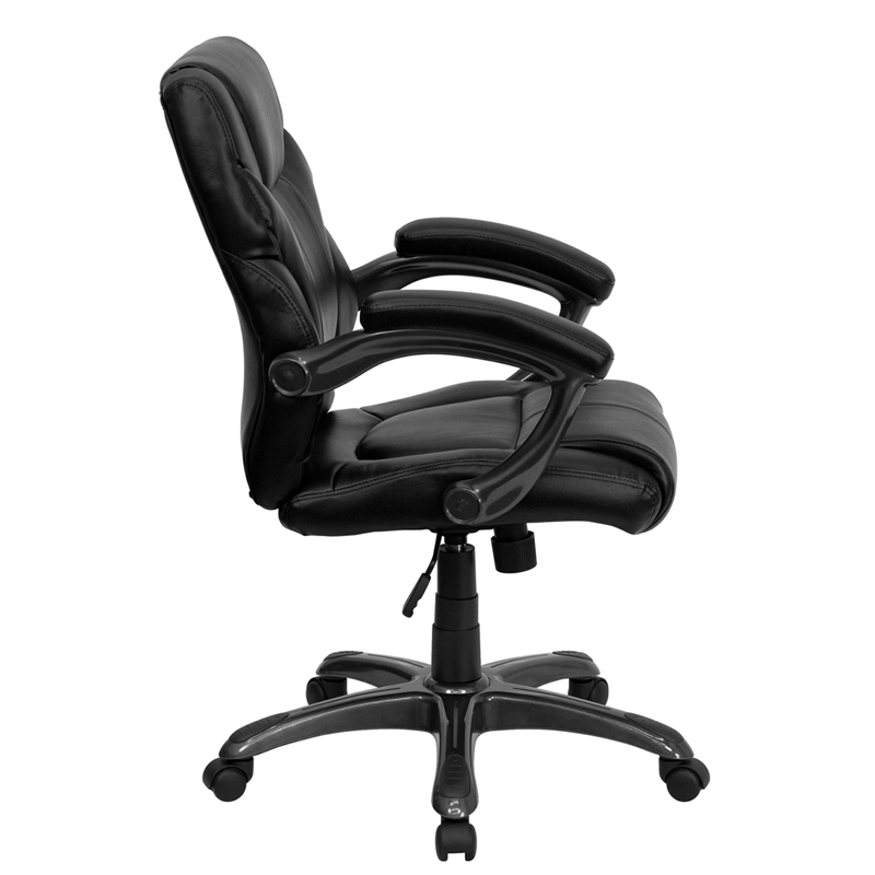 Mid Back Black Leather Overstuffed Swivel Task Chair with Arms  GO 724M MID BK LEA GG  by Flash Furniture   BizChair comMid Back Black Leather Overstuffed Swivel Task Chair with Arms  GO  . Flash Furniture Mid Back Office Chair Black Leather. Home Design Ideas