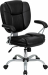 Mid-Back Black Leather Swivel Task Chair with Arms [GO-930-BK-GG]