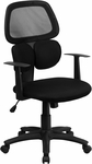 Mid-Back Black Mesh Swivel Task Chair with Flexible Dual Lumbar Support and Arms [BT-2755-BK-GG]