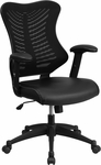 High Back Designer Black Mesh Executive Swivel Chair with Adjustable Arms with Leather Seat [BL-ZP-806-BK-LEA-GG]
