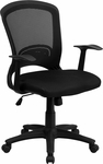 Mid-Back Designer Black Mesh Swivel Task Chair with Arms [HL-0007-GG]
